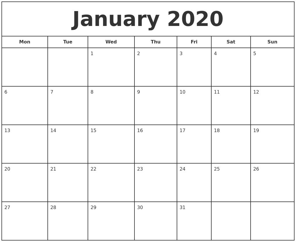 graphic about Printfree Com Calender called January 2020 Print Totally free Calendar
