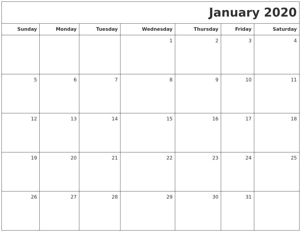 Blank Calendar Jan : January printable blank calendar
