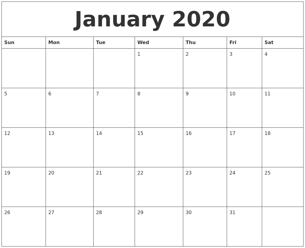 image relating to Printable Blank Monthly Calendar identified as January 2020 Printable Blank Every month Calendar