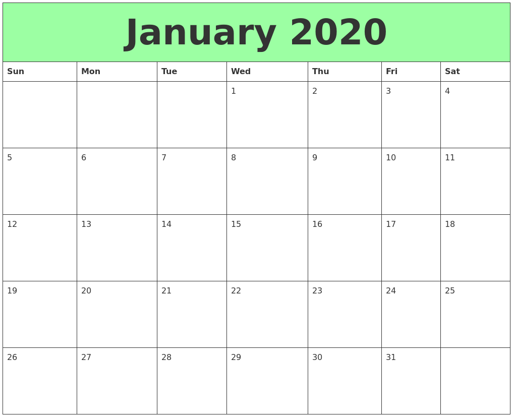 graphic relating to Printable Calendars for titled January 2020 Printable Calendars