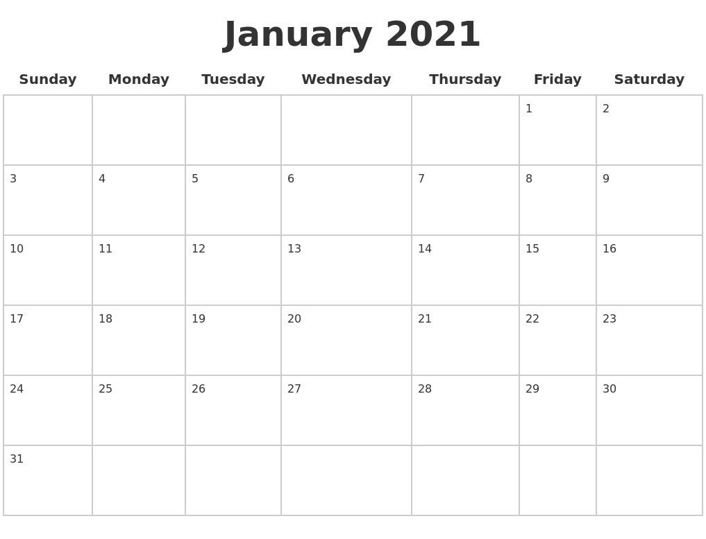 january 2021 blank calendar pages