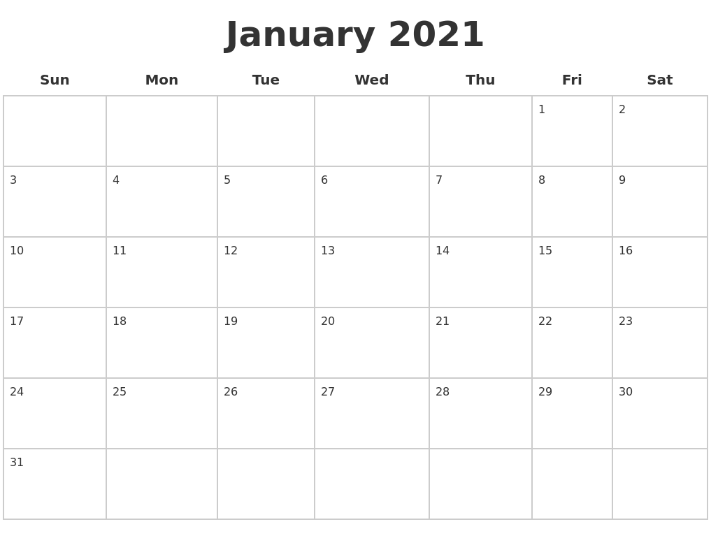 FREE 2020 Printable Calendar Template (2 colors!) - I ...