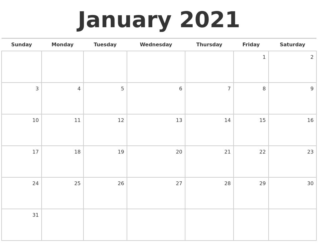 January 2021 Blank Monthly Calendar