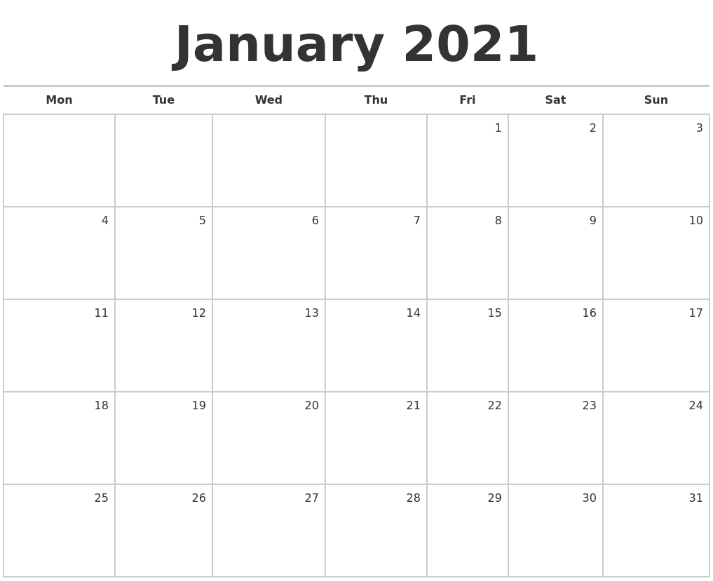 Monthly Calendar Monday Start : January blank monthly calendar