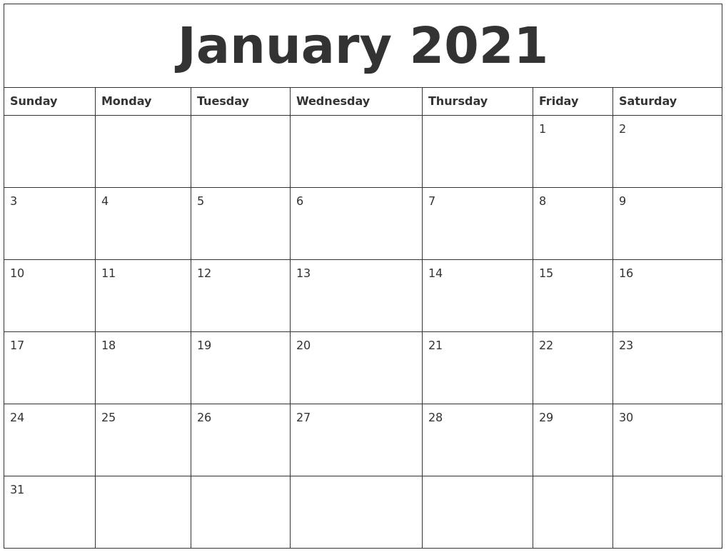 January 2021 Blank Monthly Calendar Template