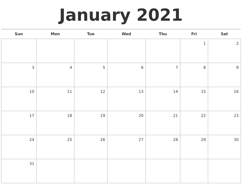 January 2021 Blank Monthly Calendar