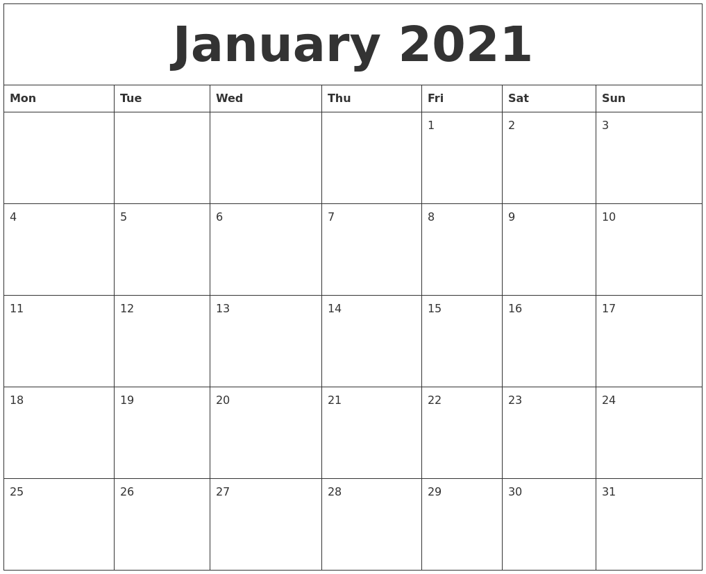 January 2021 Editable Calendar January 2021 Calendar Layout