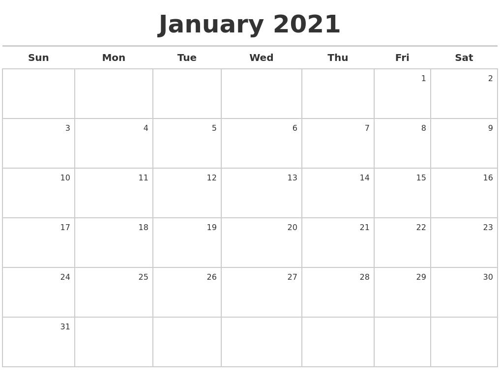 Free Calendar Maker 2021 January 2021 Calendar Maker