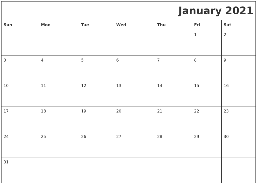 January 2021 Download Calendar