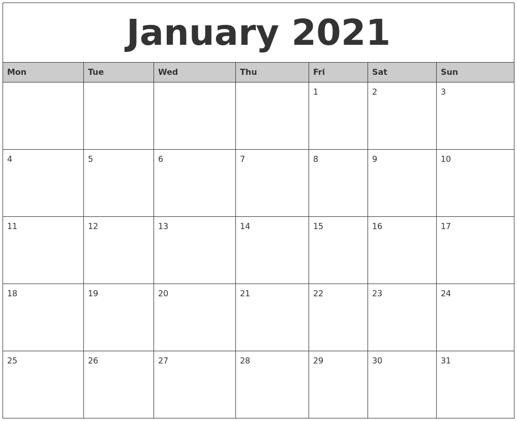 January 2021 Monthly Calendar Printable