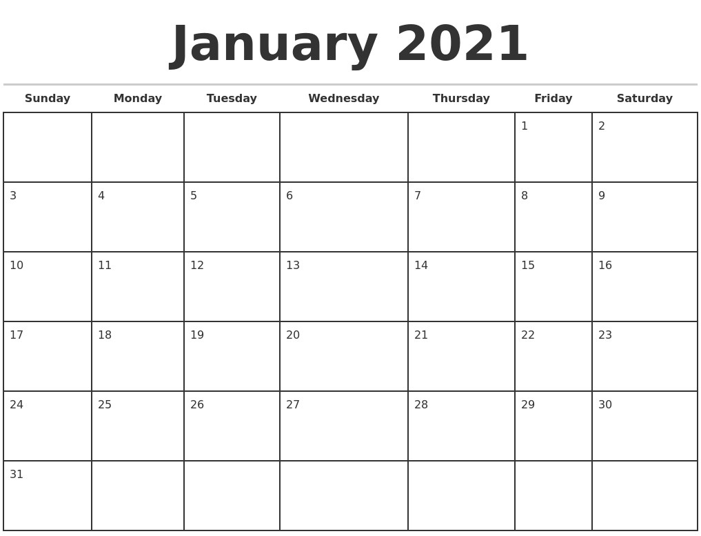 January 2021 Monthly Calendar Template
