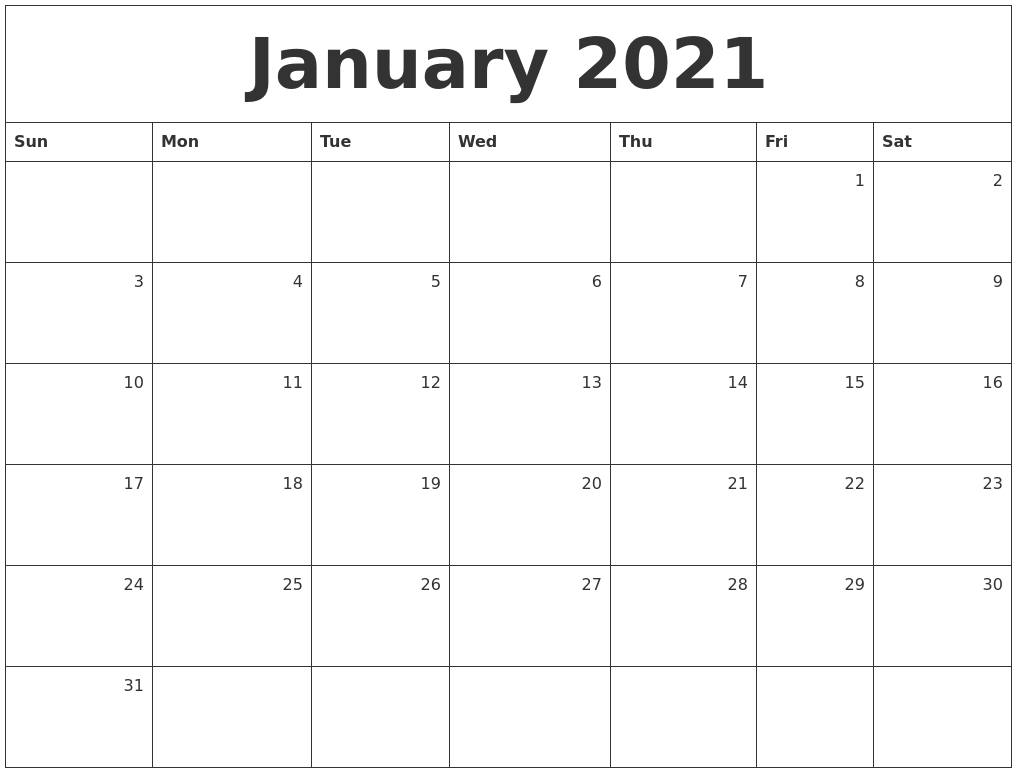 January 2021 Monthly Calendar