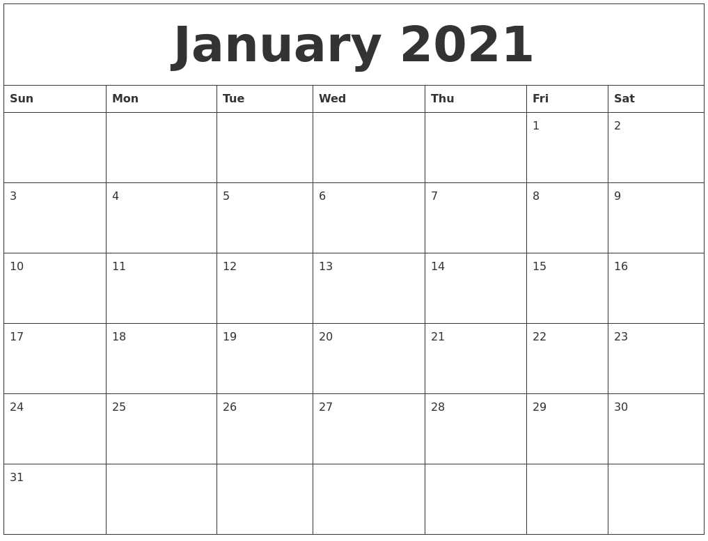 January 2021 Monthly Printable Calendar