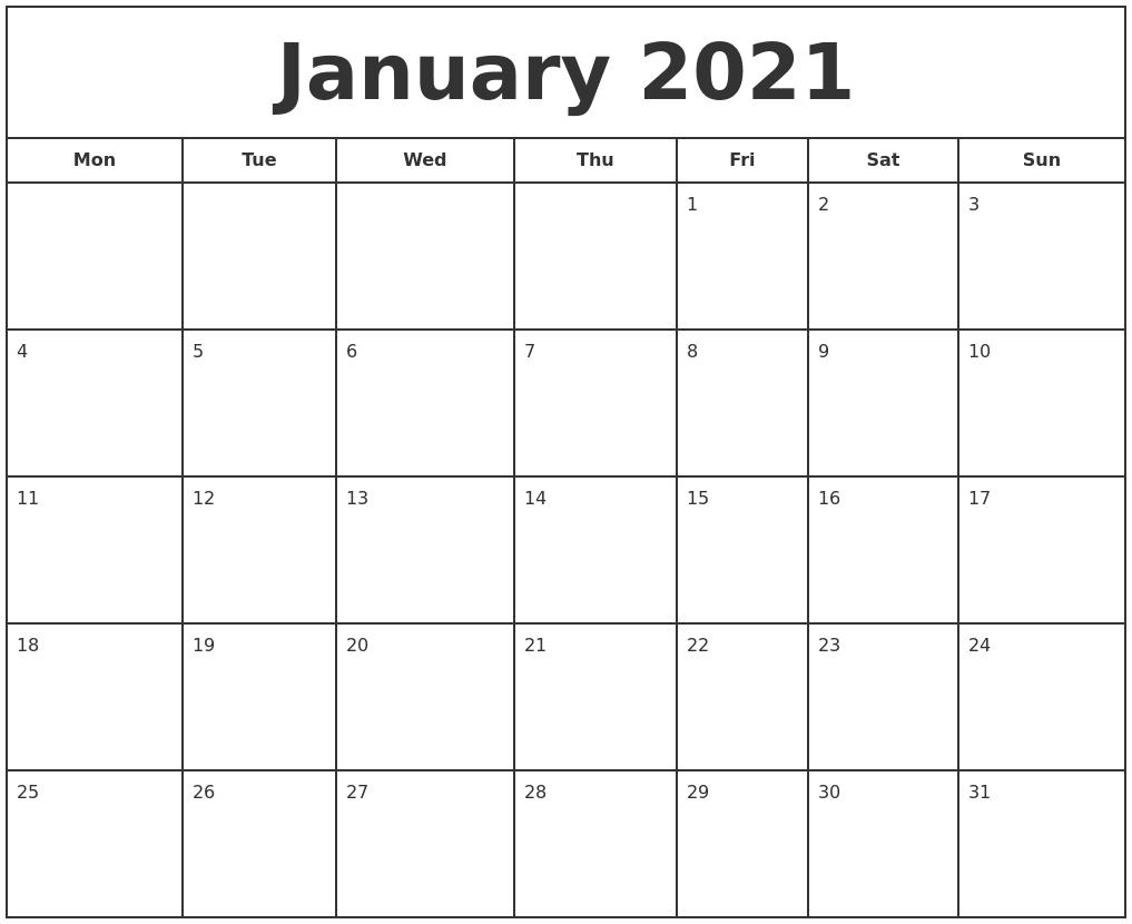 Calendar 2021 To Print January 2021 Print Free Calendar