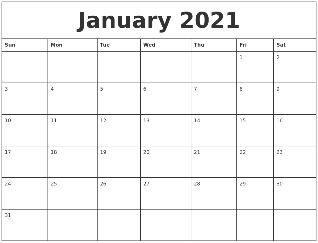 January 2021 Printable Monthly Calendar