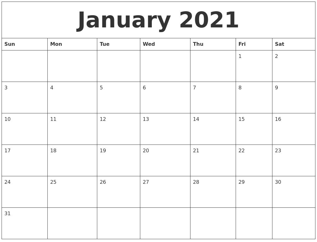Monthly Calendar 2021 Word January 2021 Word Calendar