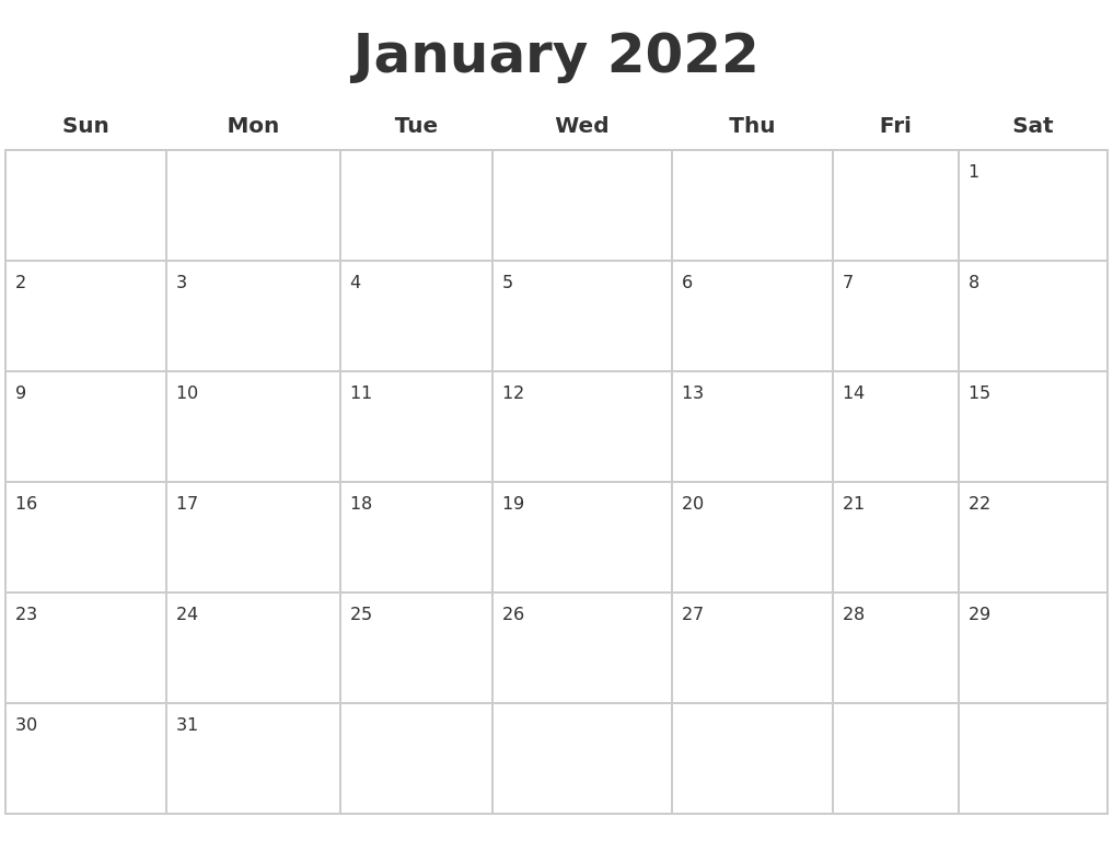 January 2022 Blank Calendar Pages