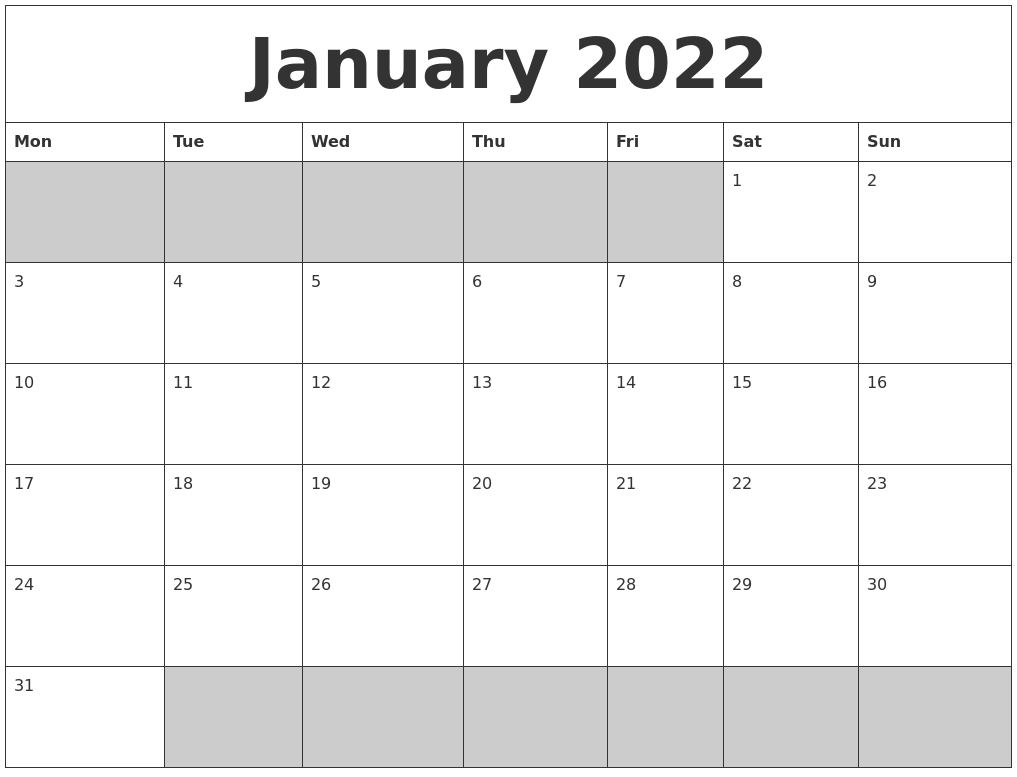 Calendar Monday Start : January blank printable calendar