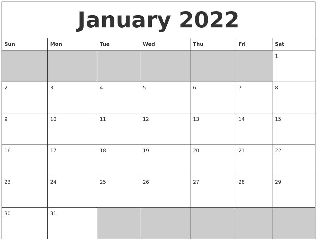 Blank Calendar Jan : January blank printable calendar