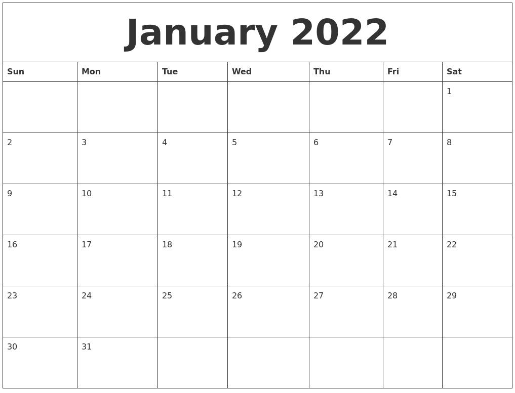 2022 Calendar By Month.January 2022 Calendar Monthly