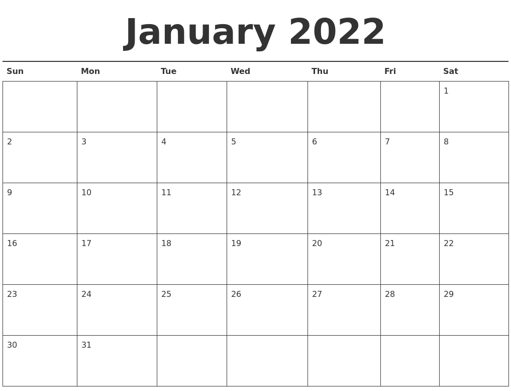 picture regarding 2022 Calendar Printable identified as January 2022 Calendar Printable