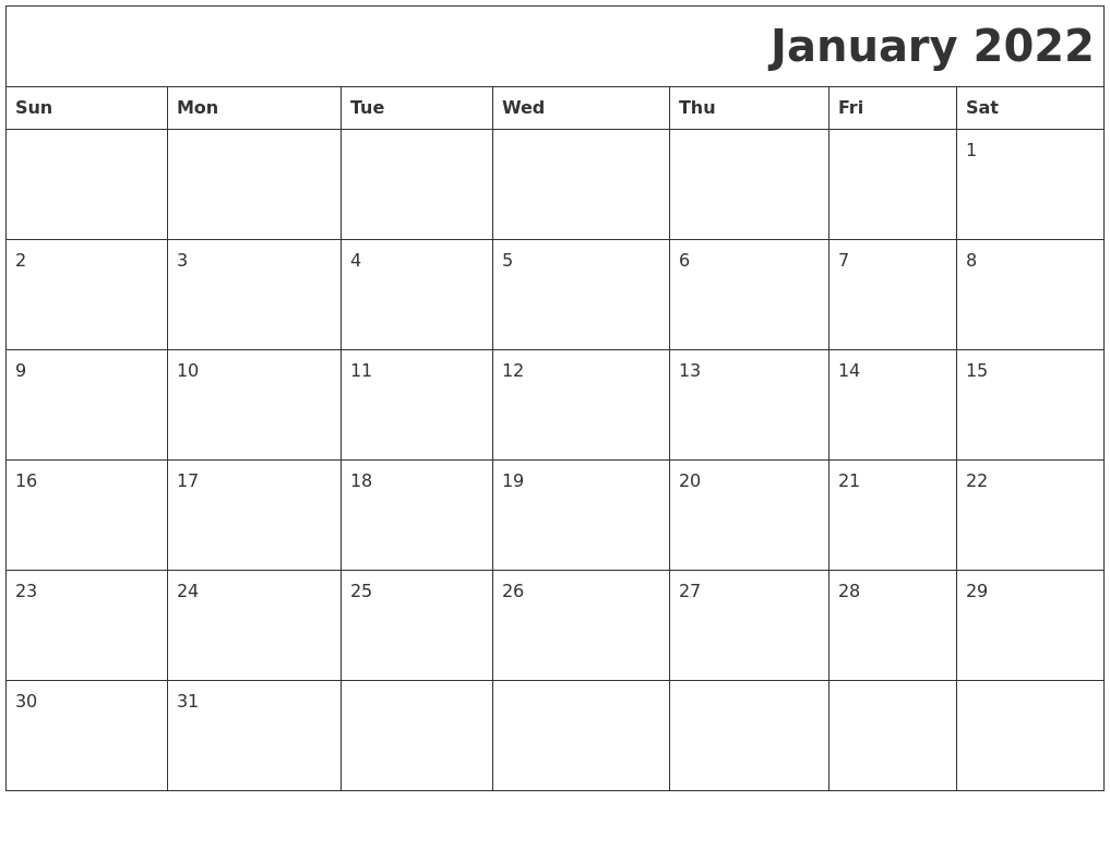 January 2022 Download Calendar