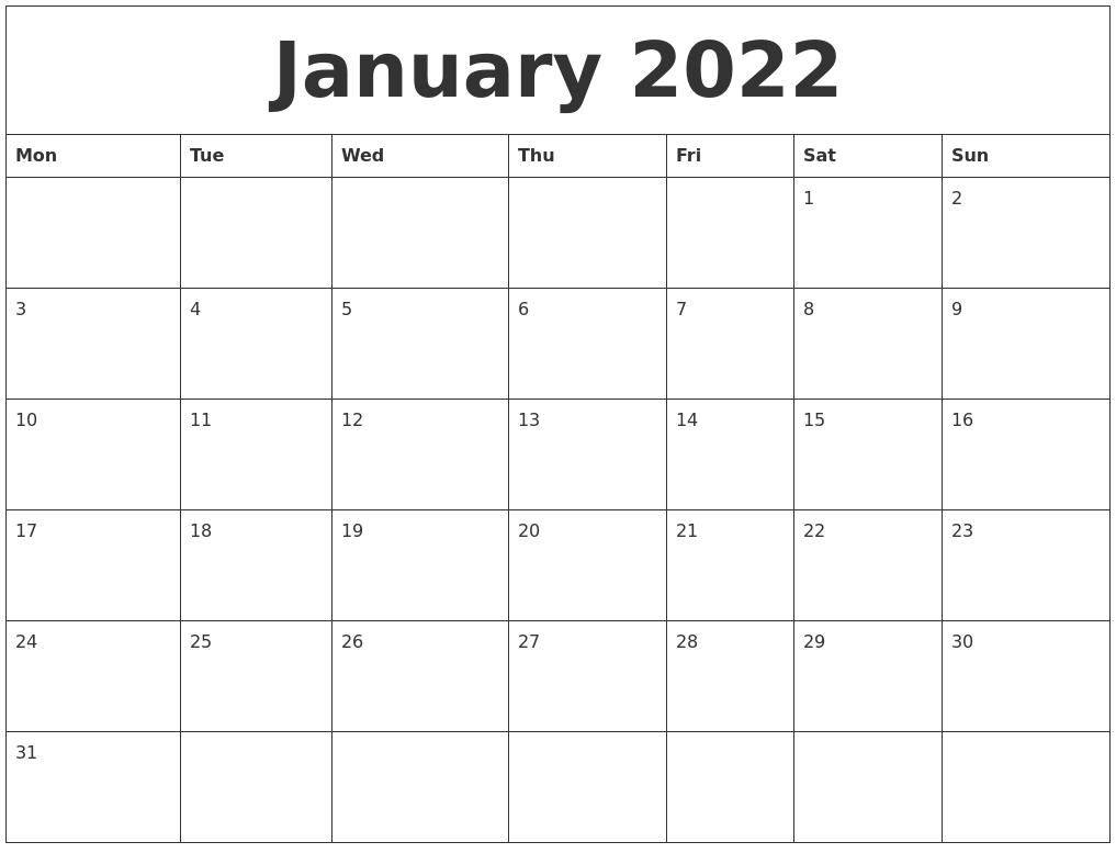 January 2022 Free Monthly Calendar Template