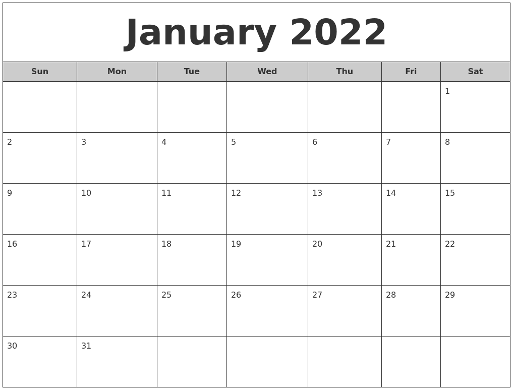 January 2022 Free Monthly Calendar