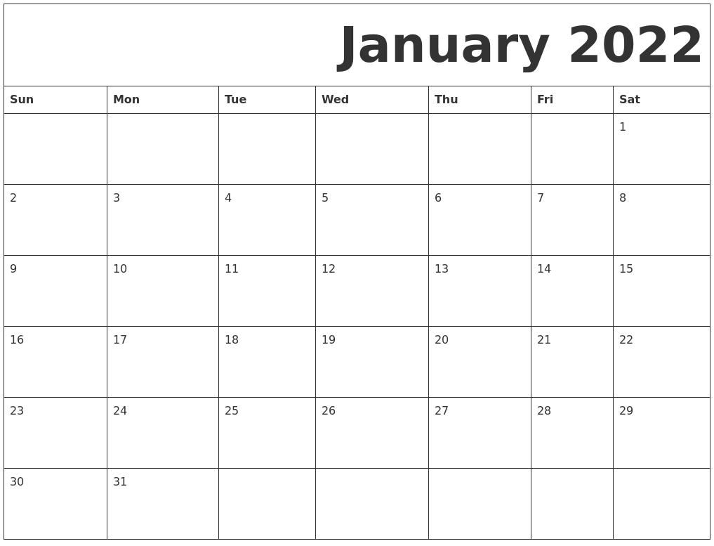 2022 January Calendar Printable.January 2022 Free Printable Calendar