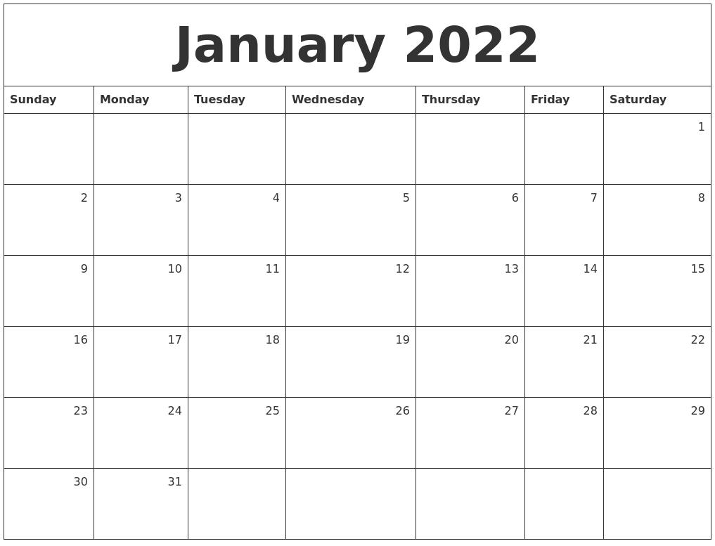Jan Monthly Calendar : January monthly calendar