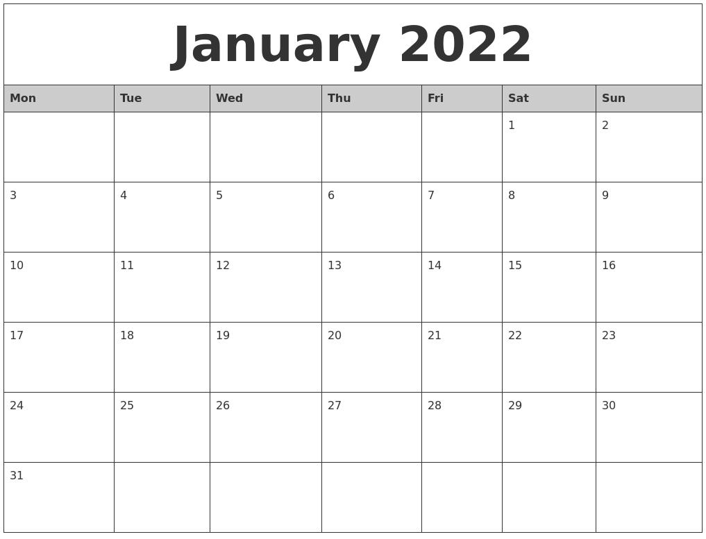 2022 January Calendar Printable.January 2022 Monthly Calendar Printable