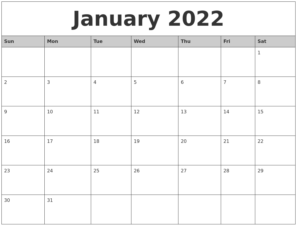 January 2022 Monthly Calendar Printable