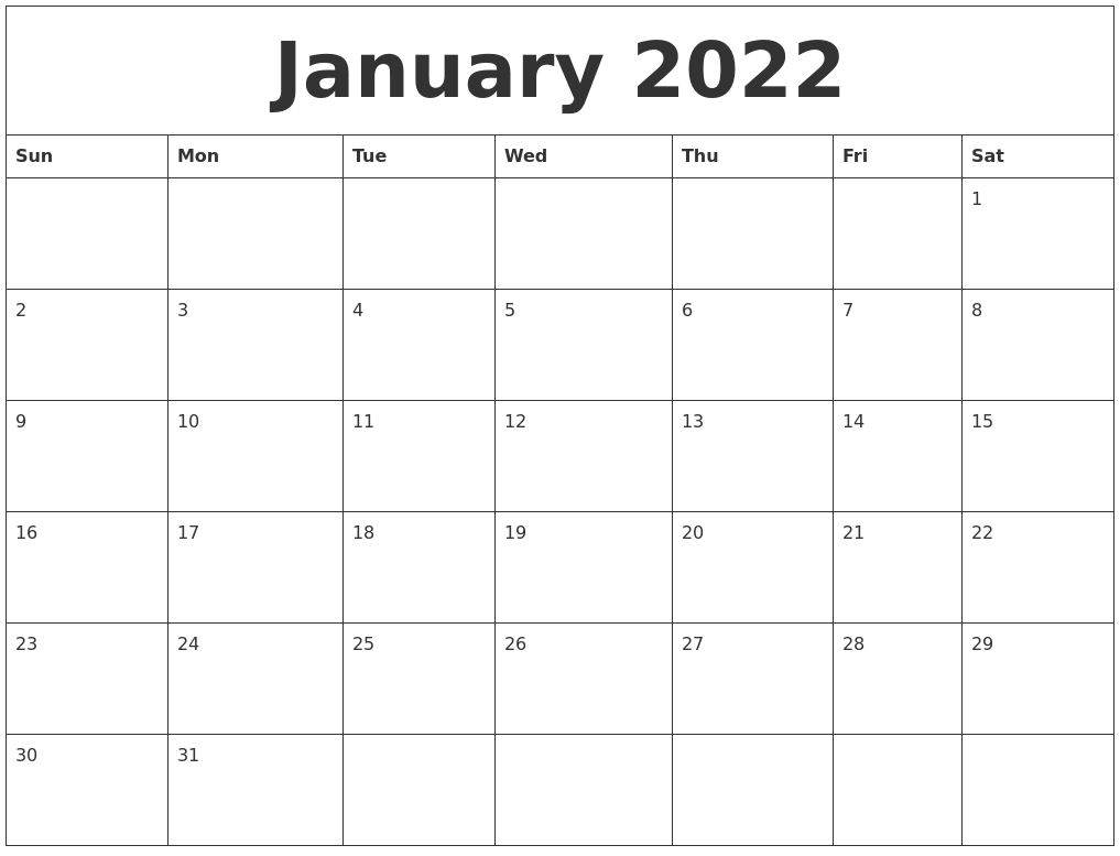2022 Monthly Printable Calendar.January 2022 Monthly Printable Calendar