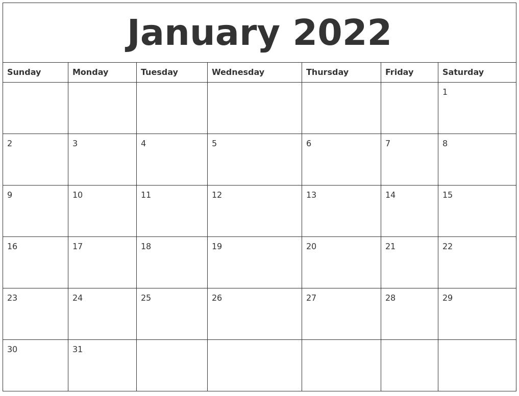 January 2022 Blank Calendar.January 2022 Printable Calendar Free