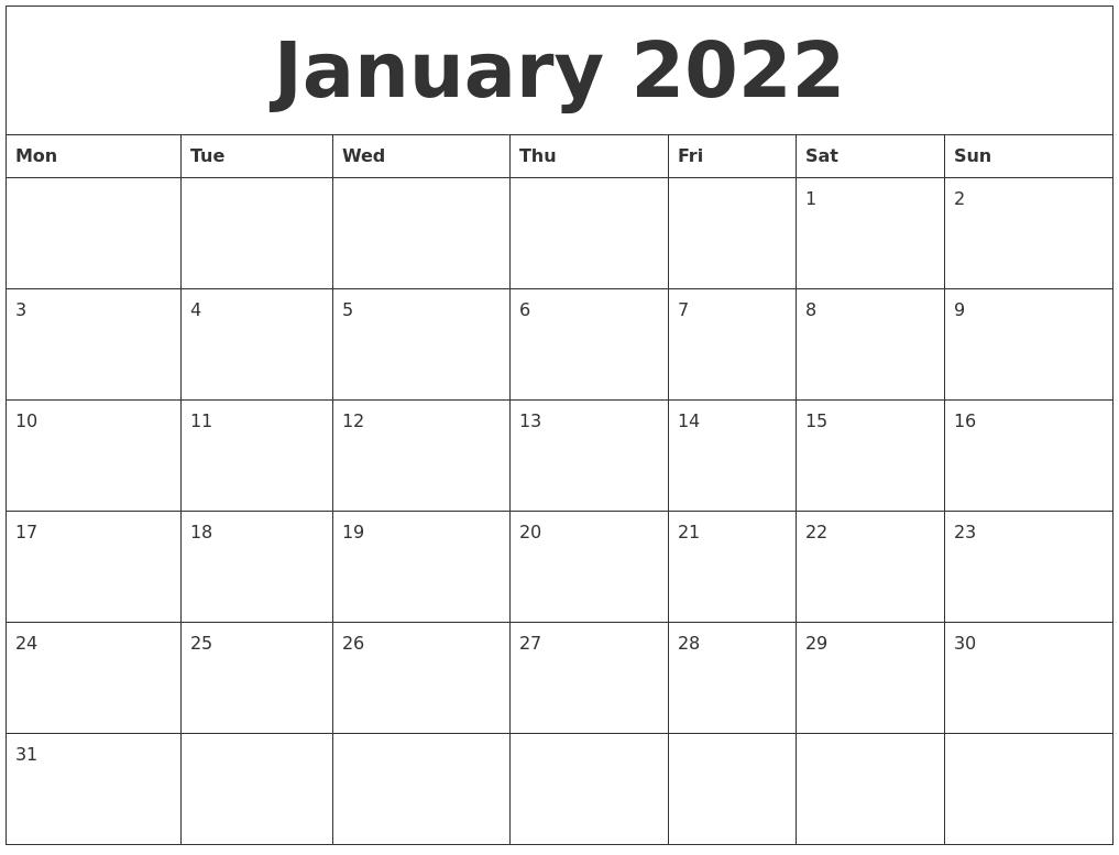 2022 Calendar Blank.January 2022 Printable Calendar Template