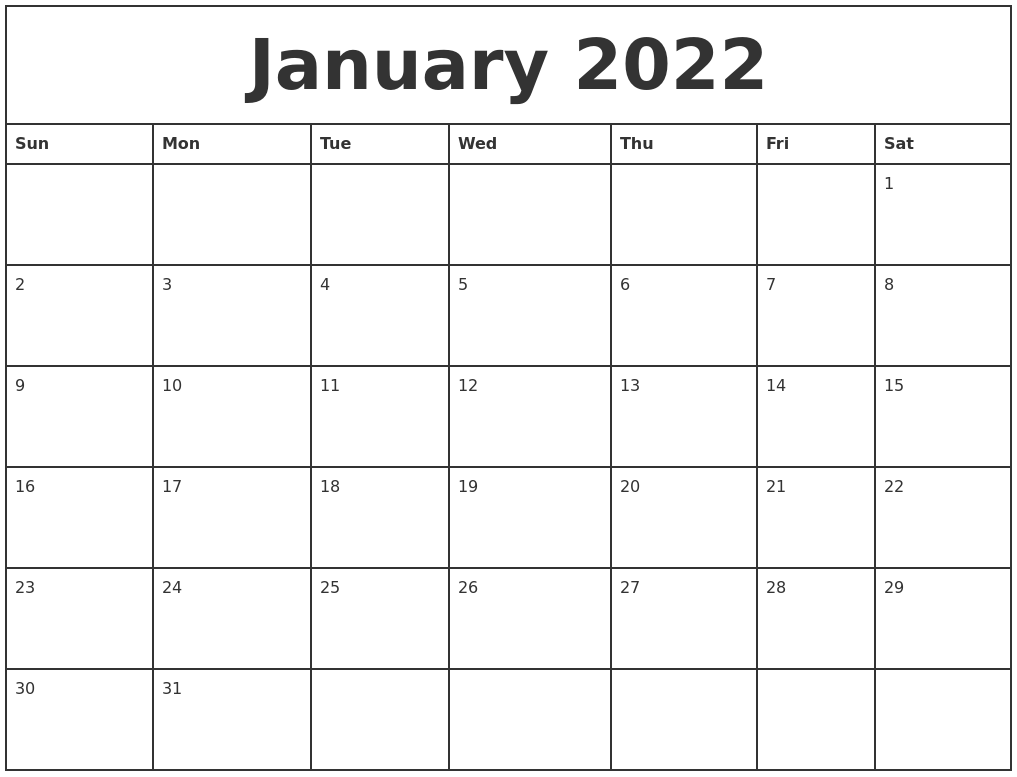 January 2022 Printable Monthly Calendar
