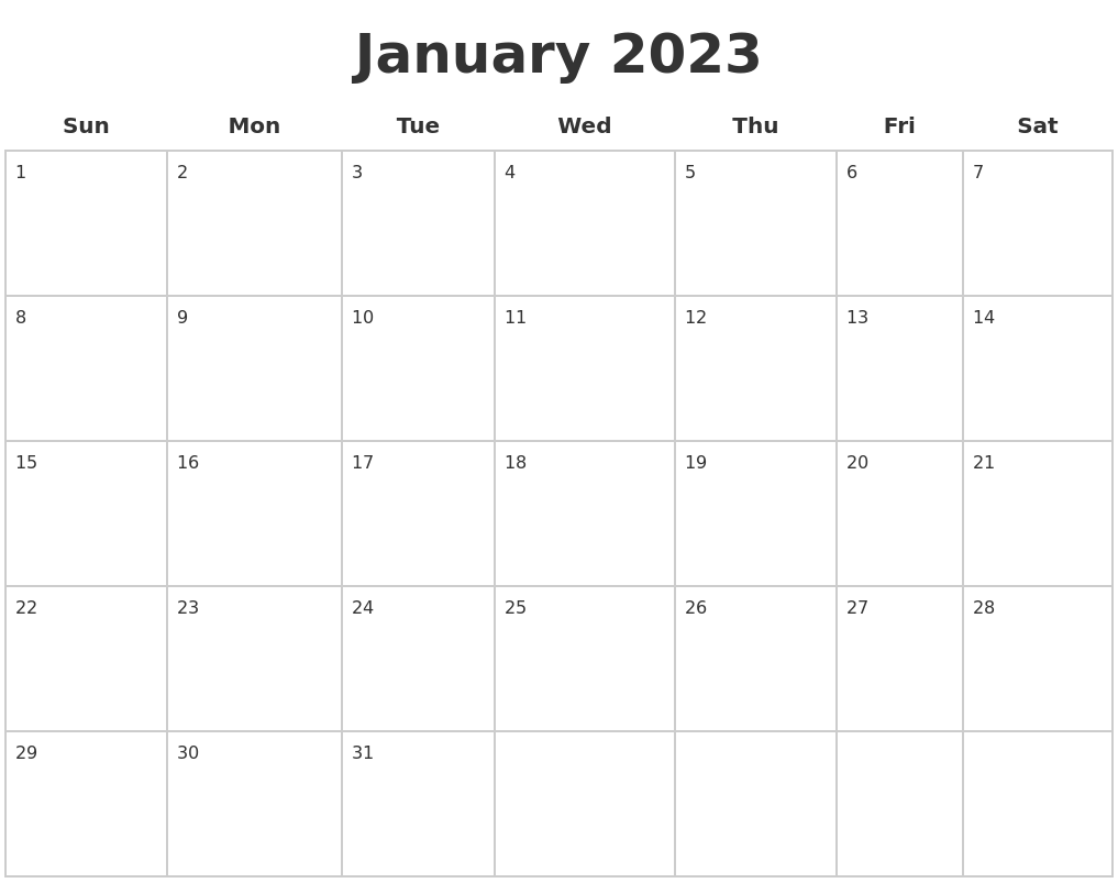 January 2023 Blank Calendar Pages