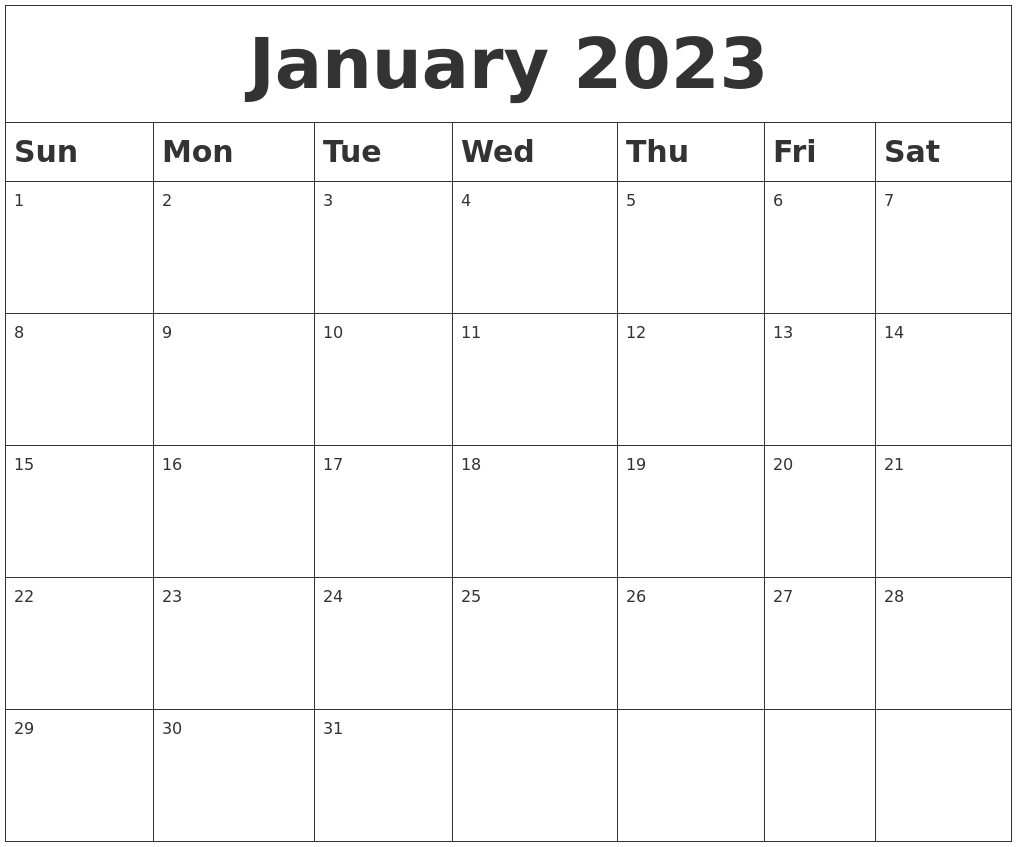 February 2023 Blank Calendar Template