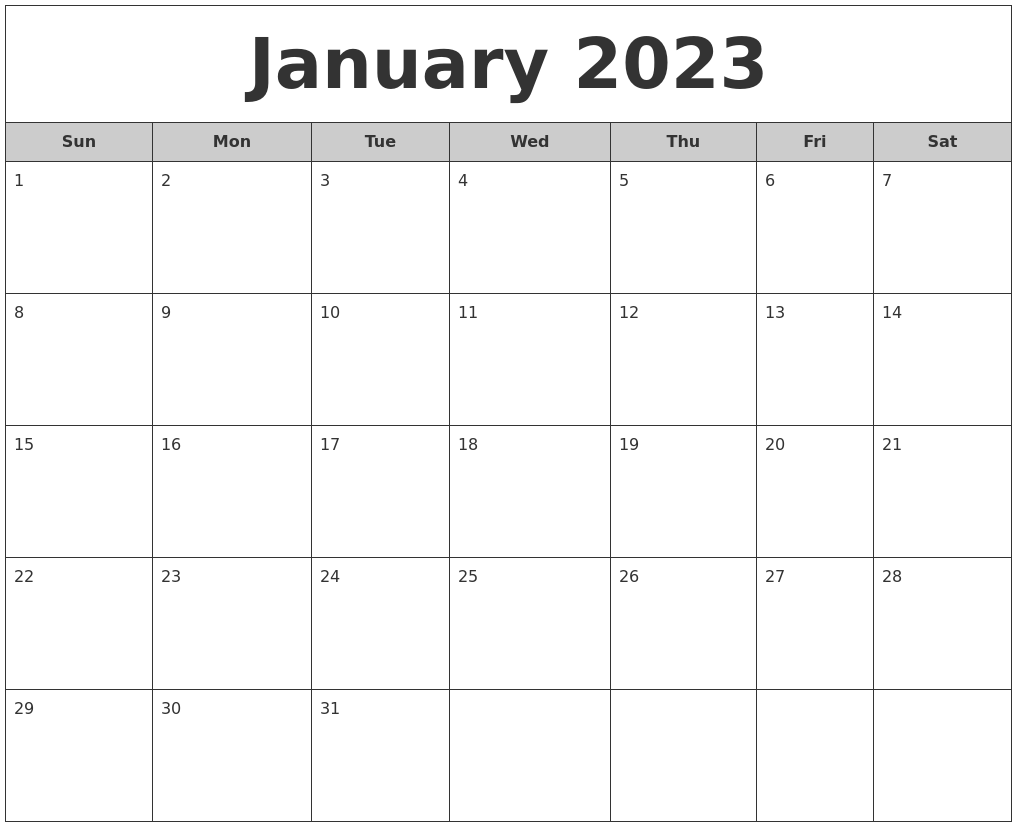 January 2023 Free Monthly Calendar