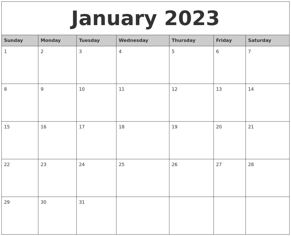 January Monthly Calendar : January monthly calendar printable