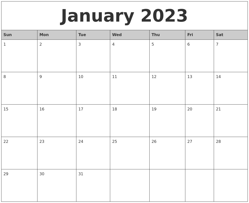 January 2023 Monthly Calendar Printable