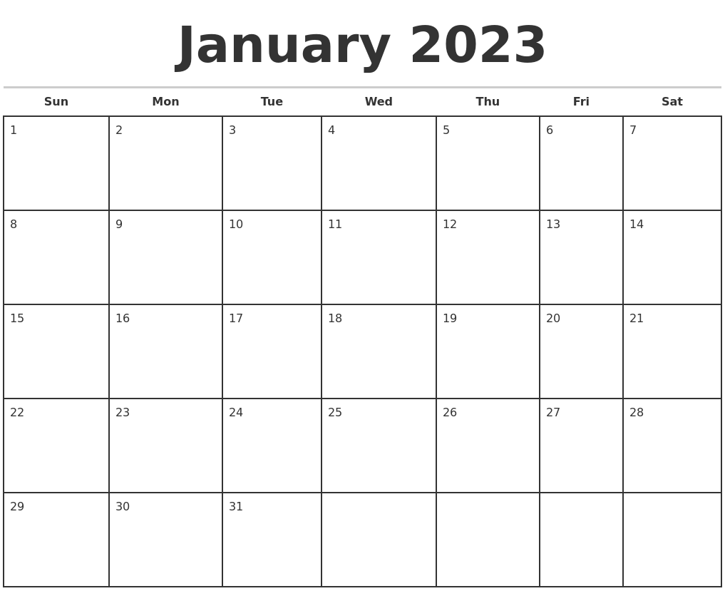 June 2023 Blank Monthly Calendar