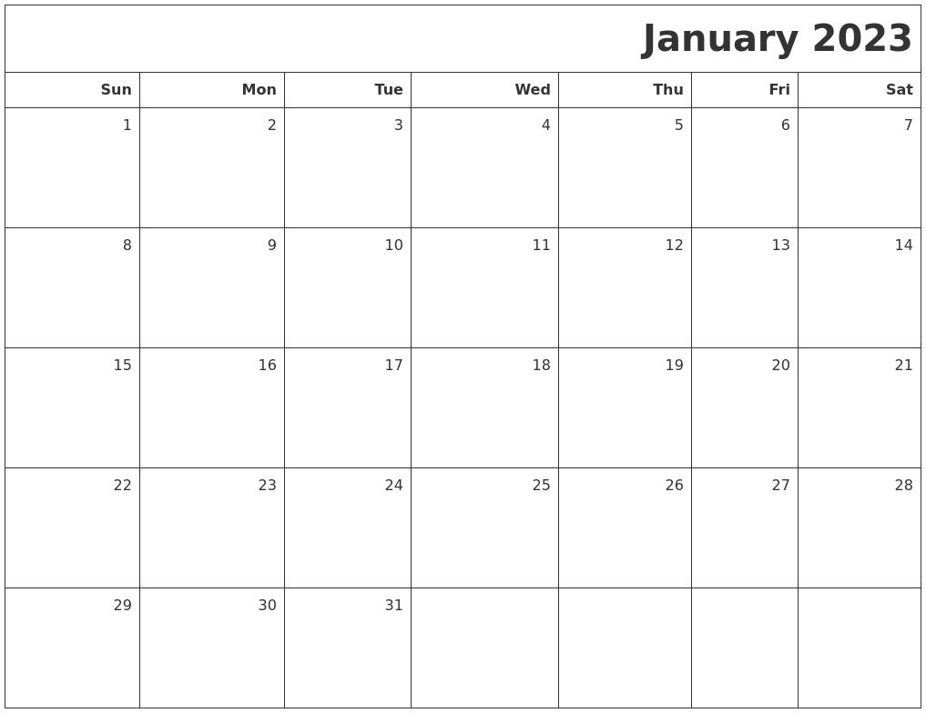 January 2023 Printable Blank Calendar