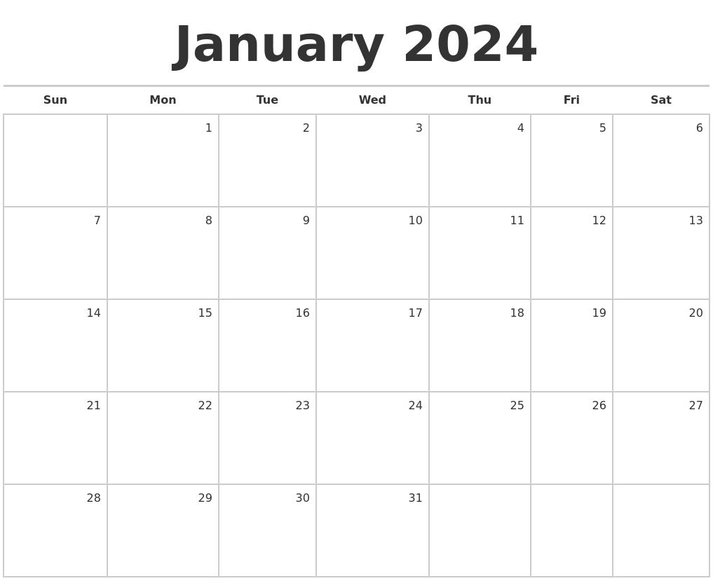 July 2024 Calendar Maker