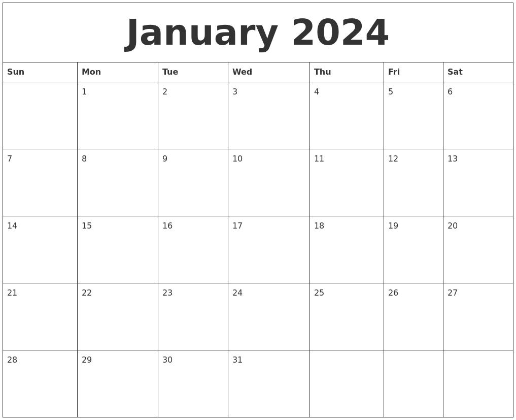 Calendar Template Blank Printable Editable