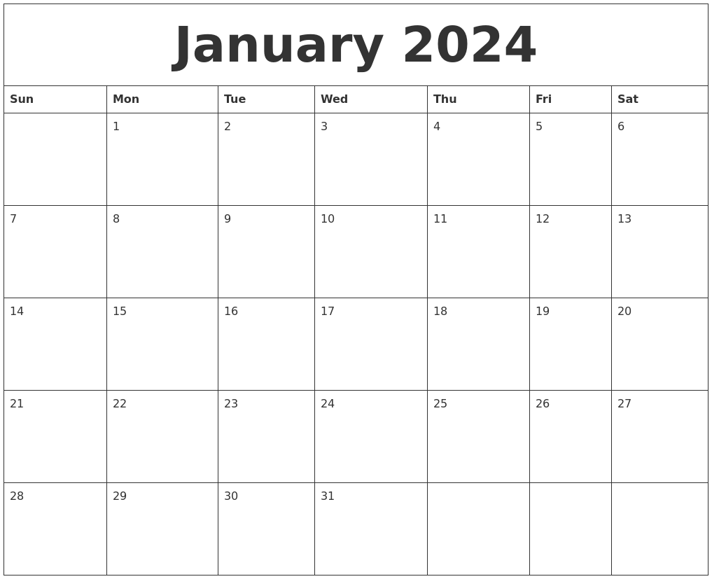 January 2024 Free Printable Monthly Calendar