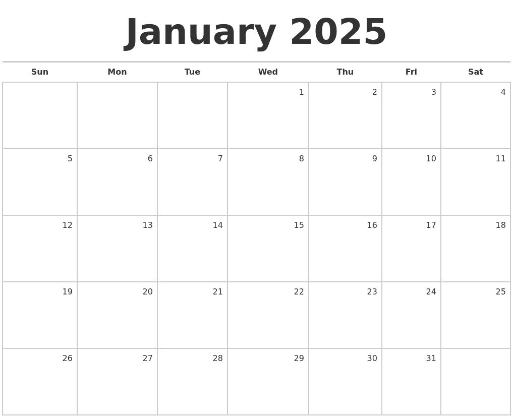 Blank Monthly Calendar January : January blank monthly calendar