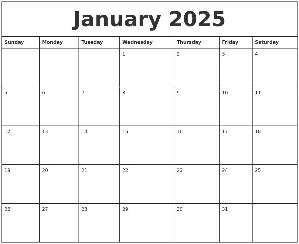 January 2025 Printable Monthly Calendar