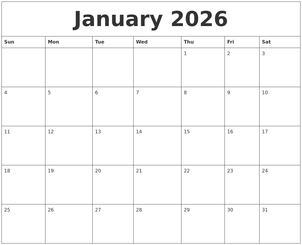 january 2026 free monthly calendar template