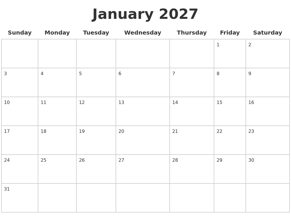 January 2027 Blank Calendar Pages